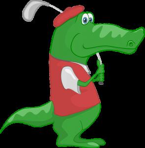 Spela golf med en alligator ...
